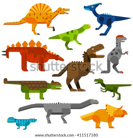 set of dinosaurs ground in
