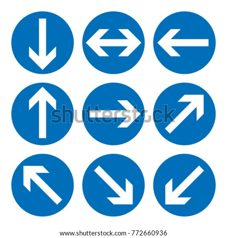 Set of direction signs. Blue circle mandatory informational symbols. Vector illustration isolated on white. White simple arrows. Notice icons. Collection arrows in different directions.