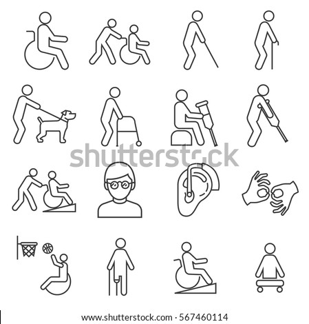 Set of disabilityRelated Vector Line Icons. Includes such Icons as a disabled, crutches, hearing aid, blind, sports for the disabled, mute, guide dog, assistance