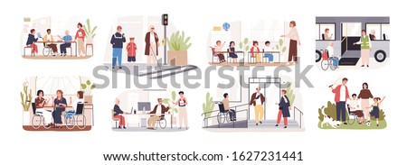 Set of disabled cartoon people care at public place vector flat illustration. Collection of people with disability in wheelchairs isolated on white background. Concept of inclusion at modern society