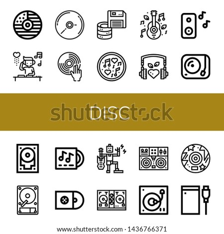 Set of disc icons such as Cd, DJ, Floppy disk, Music, Turntable, Hard drive, Hard disk, Lp, Cds, Disc jockey, Disc ,