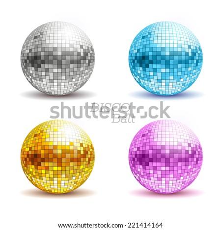 Set of disco balls. Disco background