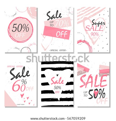 Set of 6 discount  cards design. Can be used for social media sale website, poster, flyer, email, newsletter, ads, promotional material. Mobile banner template. #567059209