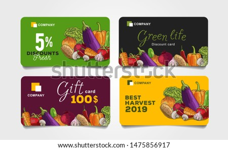 Set of discount cards for grocery food store with shopping basket illustration and discounts numbers