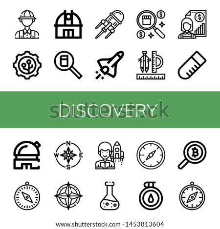 Set of discovery icons such as Archaeologist, Nanotechnology, Observatory, Search, Space shuttle, Compass, Individual, Test tube, Astronomer, Chemical , discovery