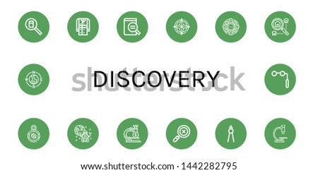 Set of discovery icons such as Search, Trench coat, Magnifying glass, Compass, Windrose, Searching, Rover, Microscope, Binoculars , discovery