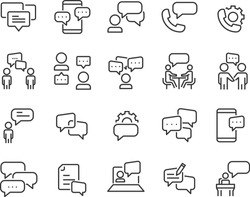 set of discussion line icons, meeting, bubble, chat, conversation, social