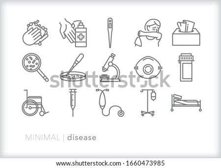 Set of 15 disease line icons for spreading and containing cold and flu, developing a vaccine, researching cures and healing patients in a hospital or doctors office