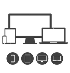 Set of display, laptop, tablet and mobile phones electronic device icons template. Vector illustration