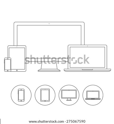 Set of display, laptop, tablet and mobile phones electronic device outline icons template. Vector illustration