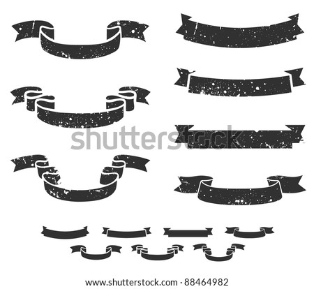 Set of distressed grunge scroll banners, includes non-grunge shapes