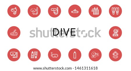 Set of dive icons such as Snorkel, Dive, Diving glasses, Submarine, Oxygen tank, Flippers, Diving mask, Pool kickboard, Diving helmet , dive