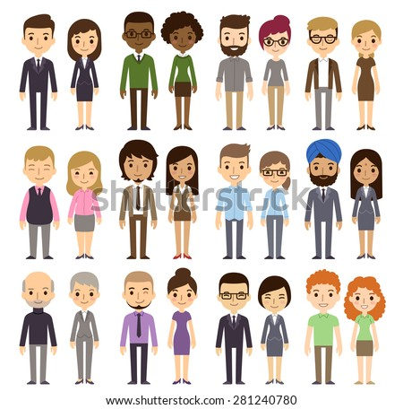 Shutterstock Set of diverse business people isolated on white background. Different nationalities and dress styles. Cute and simple flat cartoon style.