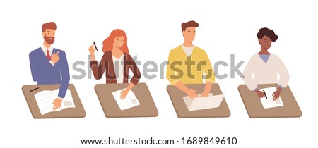 Set of diverse cartoon students man and woman sitting at table with document and laptop isolated on white. Positive people write test task hiring or recruitment specialists vector flat illustration
