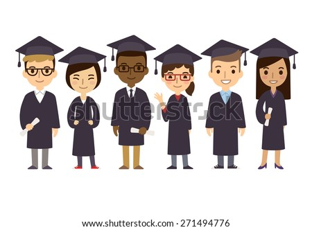 Set of diverse college or university graduation students isolated on white background. Different nationalities and dress styles. Cute and simple flat cartoon style.