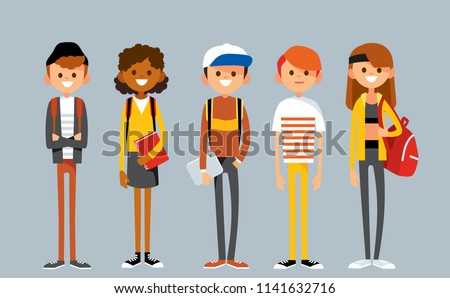 Set of diverse college or university students. Students different nationalities from different countries standing in line.  Vector illustration. Flat design.