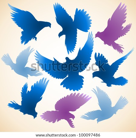 Set of diverse color silhouettes of flying birds of doves.
