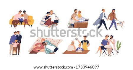 Set of diverse homosexual couple vector flat illustration. Collection of international gay family with children and dog isolated on white background. Male fathers enamored spending time together