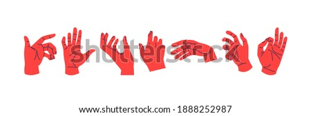 Set of diverse human hands in different poses and gestures. Unusual male or female hand signs illustration collection on isolated white background.