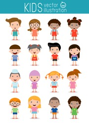 Set of diverse kids isolated on white background. . Different nationalities and dress styles. European children, America's Children, Asian children,African children, happy children,Vector Illustration