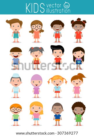set of diverse kids isolated on