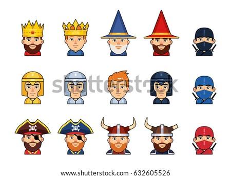 set of diverse medieval fantasy