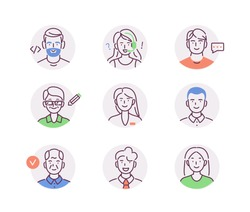 Set of Diverse People Avatars Icons. Man and Woman Characters portraits, Male and Female Faces for Profile Pictures. Professional Business Persons Collection. Flat Line Vector Illustration.