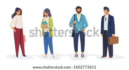 Set of diverse people holding papers, bags. Occupations, professionals, colleagues. Flat vector illustrations. Different people, diversity concept for banner, website design or landing web page
