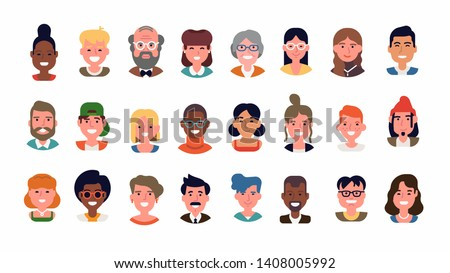 Set of diverse people portraits in flat style. Multiracial group of adult men and women of different ages and looks. Cheerful and confident faces and characters collection. Social diversity
