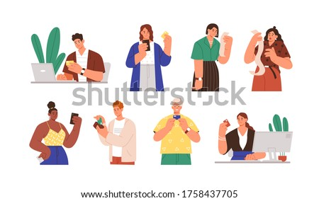 Set of diverse people with payment receipts and bank cards vector flat illustration. Collection of man and woman online cashless paying, having large amount at invoice isolated on white background