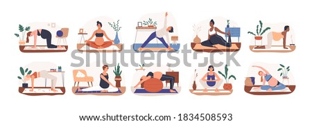 Set of diverse pregnant woman practicing yoga vector flat illustration. Collection of active future mothers doing aerobic exercise, meditating and stretching isolated. Female enjoy healthy lifestyle