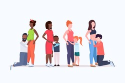 set of diverse race men and children listening pregnant woman's belly women waiting for newborn baby happy family pregnancy concept full length horizontal flat