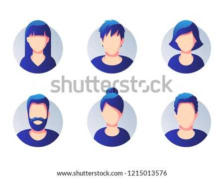 Set of diverse round avatars isolated on white background. Different clothes and hair styles. Simple flat cartoon style with gradient.