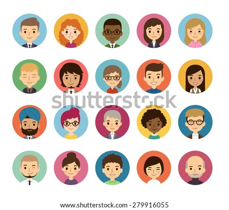 Set of diverse round avatars isolated on white background. Different nationalities, clothes and hair styles. Cute and simple flat cartoon style.