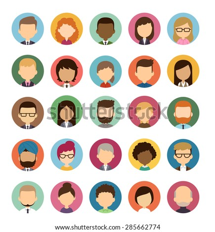 Set of diverse round avatars without facial features isolated on white background. Different nationalities, clothes and hair styles. Cute and simple flat cartoon style.