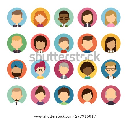 Set of diverse round featureless avatars isolated on white background. Different nationalities, clothes and hair styles. Cute and simple flat cartoon style.