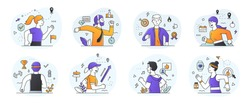 Set of diverse Runners in either a health and fitness, active lifestyle or business success and ambition or Rivalry concept surrounded with appropriate icons, flat outlined colored vector illustration