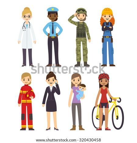 set of diverse women of