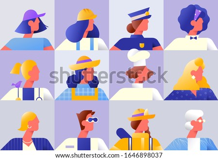Set of diverse women workers on isolated background. Modern flat gradient character collection for female worker diversity concept. Includes chef, police, firefighter and business woman.
