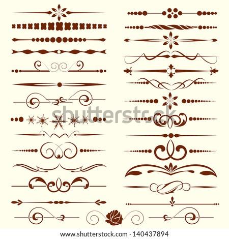 Set of dividers, ornamental rule lines