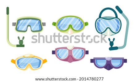 Set of Diving Equipment Snorkeling Masks, Scuba Diver Tools of Different Design. Underwater Glasses, Mouthpiece Tube for Swimming Isolated on White Background. Cartoon Vector Illustration, Icons Сток-фото ©