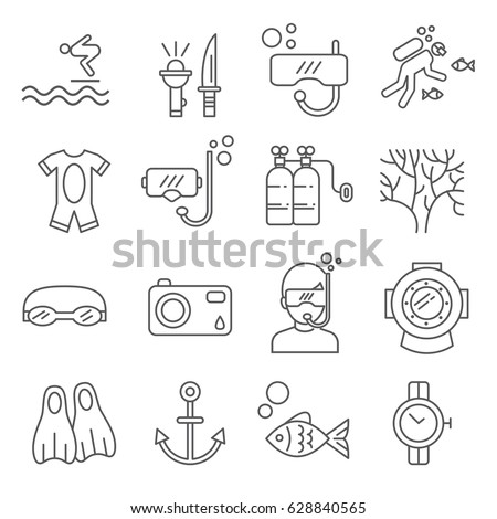 Stock Photo Set of diving Related Vector Line Icons. Includes such Icons as sea, ocean, snorkeling, fins, scuba, scuba diver