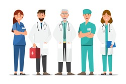 Set of doctor cartoon characters. Medical staff team concept in hospital. vector illustration