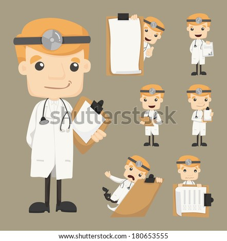 Set of doctor with notepad eps10 vector format