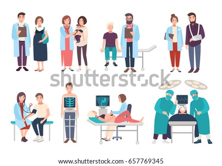 Set of doctors and patients in polyclinic, hospital. Visit to therapist, pediatrician, gynecologist, surgeon. medical services: ultrasound diagnostics, x-ray, surgery. Vector cartoon illustrations.