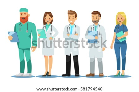 Set of doctors characters. Medical team concept in vector illustration design.