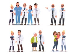 Set of doctors. Pediatrician with mother and child, a team of hospital staff, a couple of medical professionals, healthcare worker and an elderly patient. Vector illustration in cartoon style