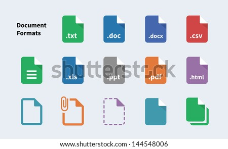 Set of Document File Formats and Labels icons. Vector illustration.
