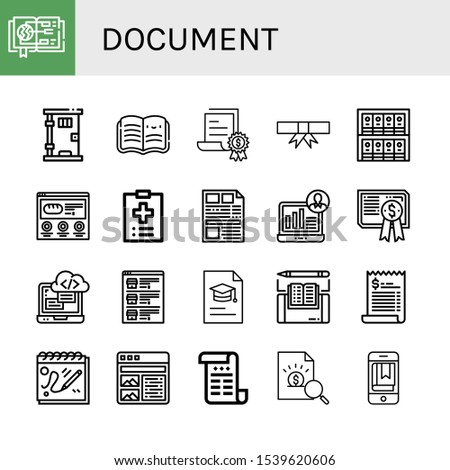Set of document icons. Such as Guide, Prison, Open book, Certificate, Degree, Binders, Website, Medical record, Newspaper, Demographic, Programming, List, Ebook , document icons