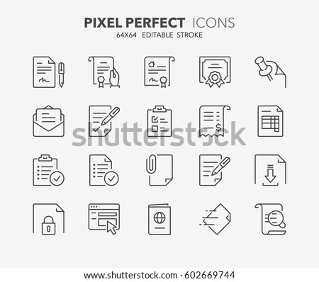 Set of documents thin line icons. Contains icons as contract, certificate, attachment, invoice, deed of sale and more. Editable vector stroke. 64x64 Pixel Perfect.